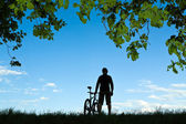 Cycling silhouette — Stock Photo