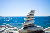 Stones stack, Croatian beach — Fotografia Stock