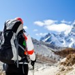 Woman trekking in Himalaya Mountains — Stock Photo