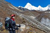 女性のヒマラヤ山脈でトレッキング — ストック写真