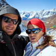 Couple Hiking in Himalaya Mountains, Self portrait - Stock Photo