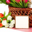 Banner add with Easter eggs and spring flowers — Stock Photo