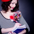 Frenchwoman student in red beret with notebooks — Foto de Stock
