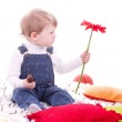 Portrait of baby boy with red flower — Stock Photo
