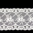 Vintage lace with flowers on white background — Stock Photo