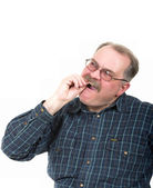 Portrait of old man having a toothaches — Stock Photo