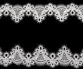 Ročník krajky s květy na bílém pozadí — Stock fotografie