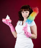 Room cleaning woman — Stock Photo