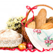 Beautiful bread set in basket on white background — Stock Photo #10489416