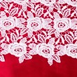 Vintage lace with flowers on red background — Stock Photo
