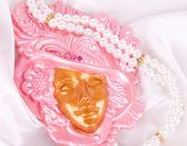 La bella misteriosa maschera veneziana per carnevale — Foto Stock