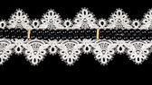 Vintage lace with flowers on black background — Foto de Stock