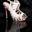 Sexy fashionable shoes on black background. - Stock Photo