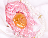 The beautiful mysterious venetian mask for Carnival — Stock Photo