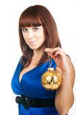 Girl with Christmas ball — Stok fotoğraf
