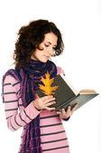 Menina com livro — Fotografia Stock