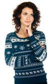 Girl in Christmas sweater — Stock Photo