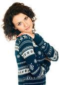 Chica de suéter de navidad — Foto de Stock