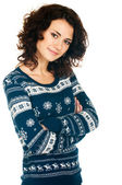 Girl in Christmas sweater — Stockfoto