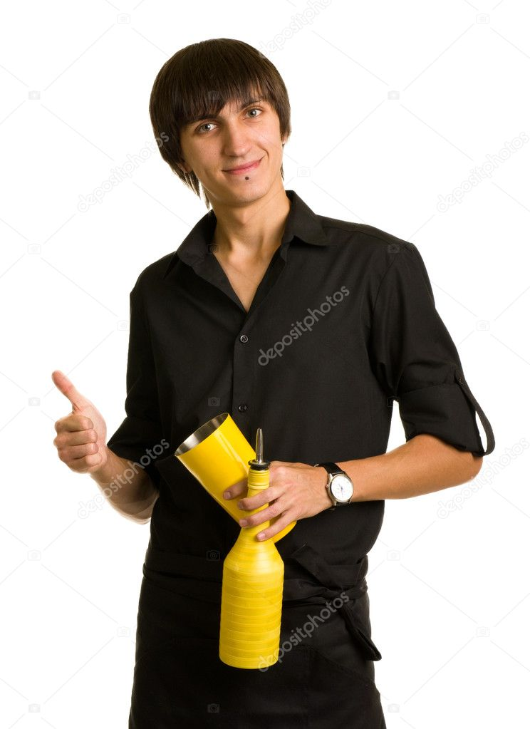 Young bartender does a trick with a shaker and bottle on white background — Stock Photo #8010479
