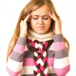 Beautiful girl with terrible headache holding head in pain — Stock Photo