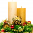 Christmas Decoration Candle. - Stock Photo