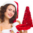 Woman in Santa Claus clothes with tree — Stock Photo