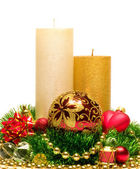 Christmas Decoration Candle. New Year's background — Stock Photo