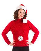 Belle fille enceinte dans les vêtements du père Noël — Photo