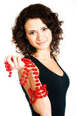 Beautiful smiling girl with Christmas decorations — Stock Photo