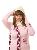 Beautiful smiling girl in warm clothes — Stock Photo