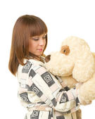 Beautiful young girl with toy dog — Foto de Stock