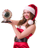 Woman in Santa Claus clothes with Clock — Stock Photo