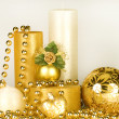 Christmas Decoration Candle — Stock Photo