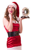 Woman in Santa Claus clothes with Clock — Foto Stock