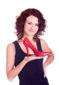 Mujer de compras con zapato aislado sobre fondo blanco. — Foto de Stock
