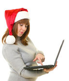 Girl in Santa Claus clothes — Stock Photo