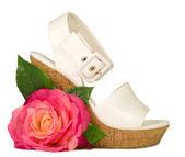 Róża różowy i buty na białym tle. — Zdjęcie stockowe