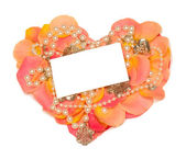 Rose heart with banner to write it on your text and beads — Stock Photo
