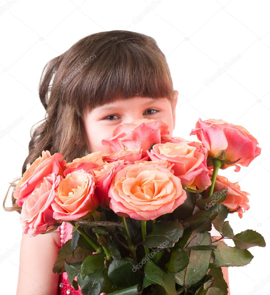 Cute Girl With Rose Cute Little Girl With Pink