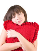 Woman in happy morning with red pillow — Stock Photo