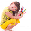 Beautiful little girl with color pencils — Stock Photo #8698160