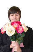 Valentines Man with flowers — Stock Photo