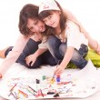 mother and her little daughter with color paint — Stock Photo #8725551