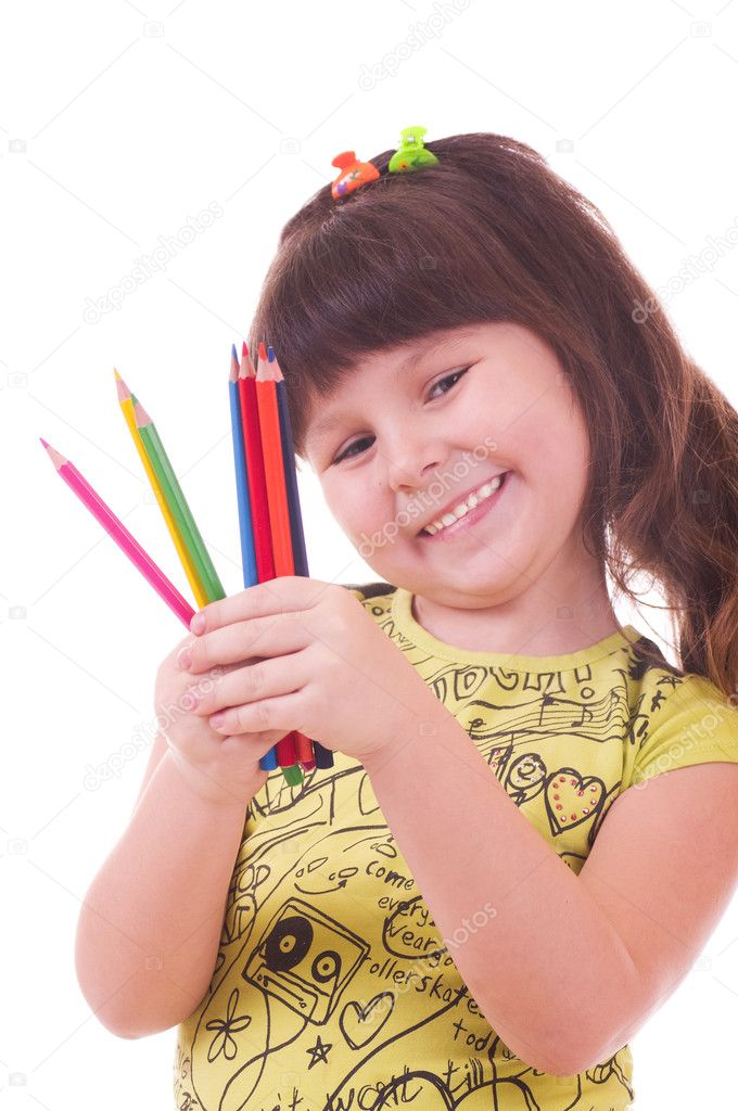 Beautiful little girl with color pencils  — Stock Photo #8725480
