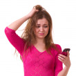 Girl worrying with telephone — Stock Photo