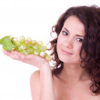 Beautiful young woman with green grape — Stock Photo #8973898