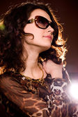 Portrait of beautiful young woman in glasses — Stock Photo