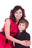 Little schoolboy with mother isolated — Stock Photo