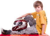Little beautiful boy with motorcycle helmet — Stock Photo